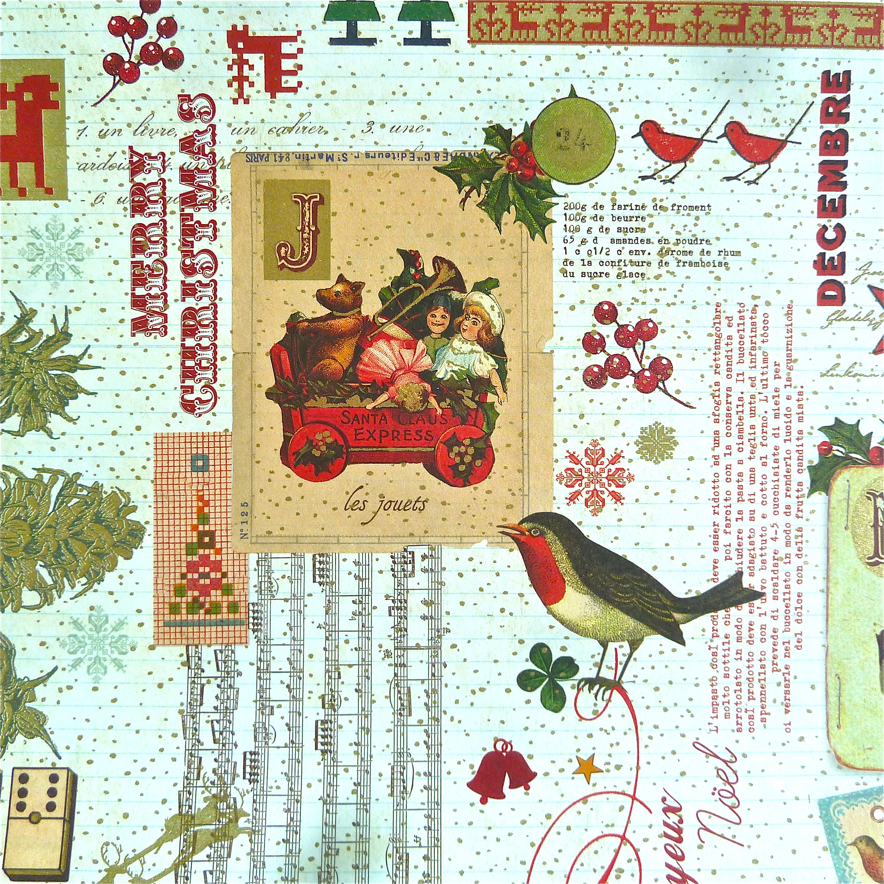 Christmas Collage Italian Wrapping Paper